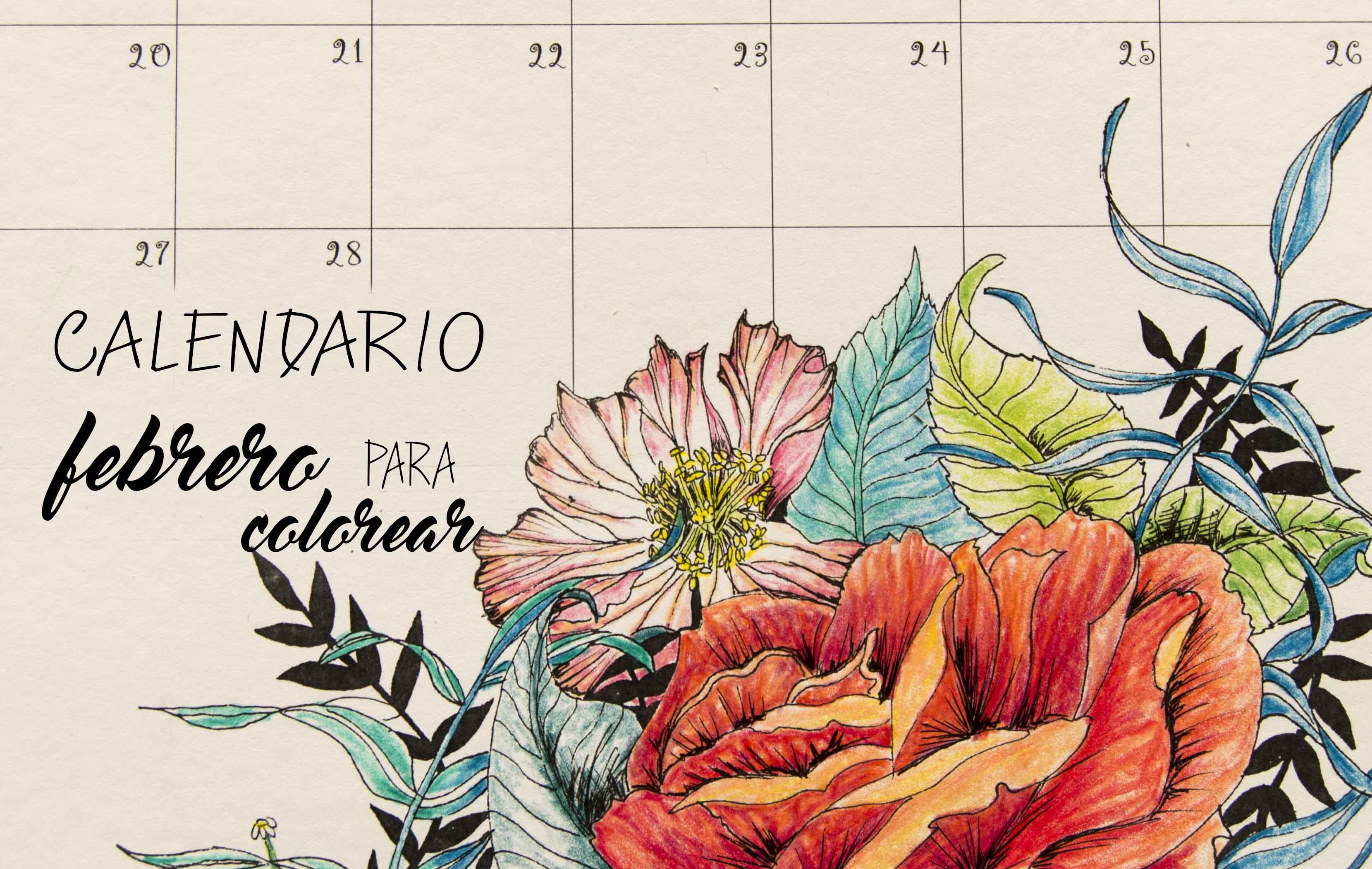 CALENDARIO FEBRERO PARA COLOREAR – LIBRIDÚ
